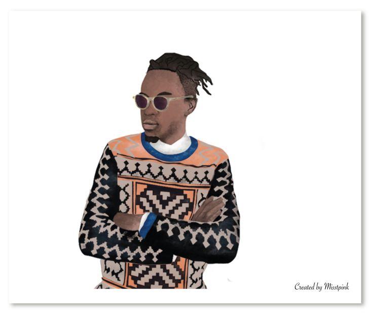 I have been told to work on Illustrations of guys too here's my 1st attempt. Fashion designer @laduma & model @vuyompantsha. #MaxhosaByLaduma #fashion #tribal #geometric #pattern #orange #black #instafashion #style
