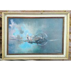 Vintage Framed Spitfire Print. Frame needs attention. 72cm x 52cm