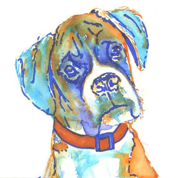 Boxer Dog art Print of Original watercolor painting illustration Orange Aquamarine Blue Brindle Boxer dog home decor gift Boxer… #dogs #art