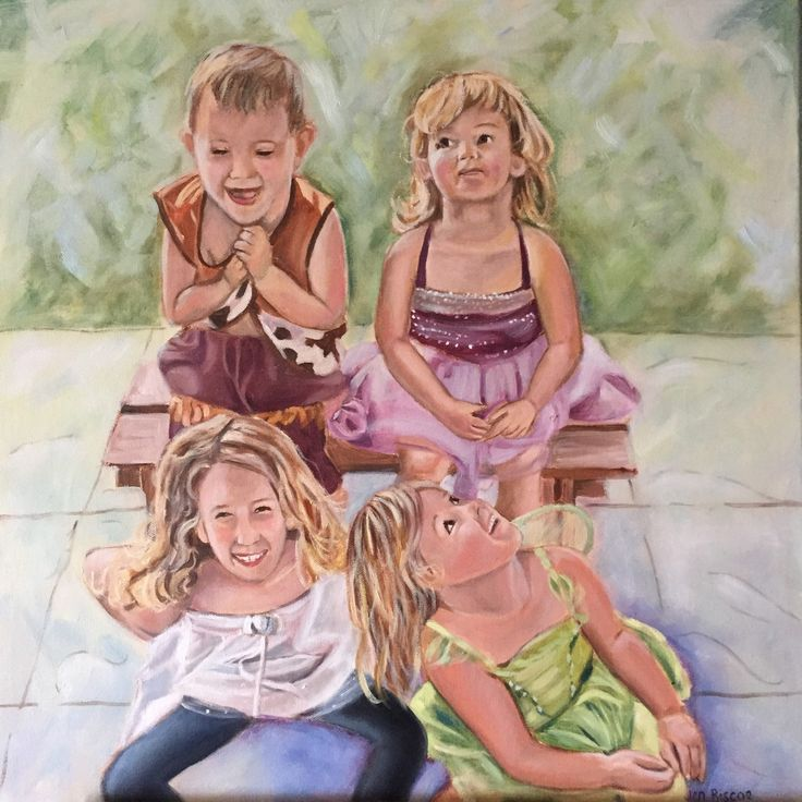 I love this image and how it shows the personality of each child. Also love that they are all in dress ups except for the eldest who is wearing nice clothes. Just goes to show that the photo doesn't have to be perfect to get a beautiful painting.