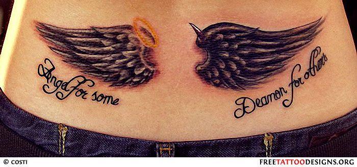 Angel Vs Devil Tattoos Angel Tattoos Angel Wings