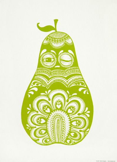 The pear poster is inspired by old folkloric patterns and embroidery. It´s a slepy but happy pear who would love to be on your wall. Made with...
