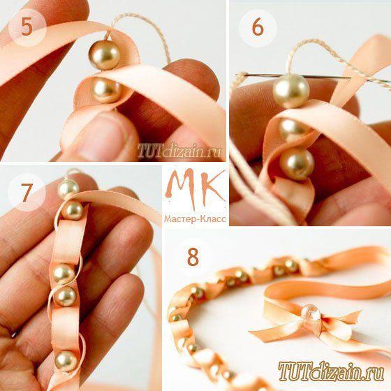 Нежное ожерелье из лент и бусин » Дизайн & Декор своими руками