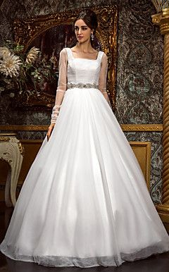 A-line Princess Square Floor-length Tulle Wedding Dress (612... – USD $ 299.99