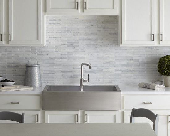 Backsplash Design Light Gray With Whites Kitchen
