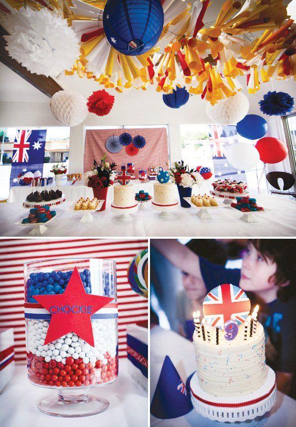 Patriotic Red, White & Blue Aussie Party