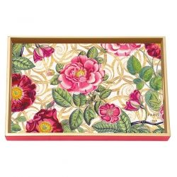 Damask Rose Decoupage Wooden Vanity Tray