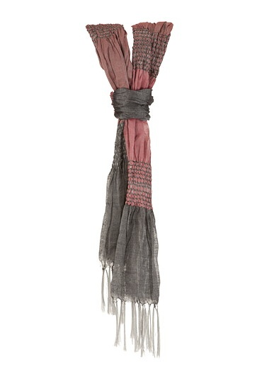 Pink and Grey Colorblock Scarf with Fringe