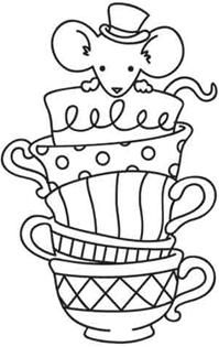 Craft embroidery patterns a collection of diy and for Free printable tea cup coloring pages