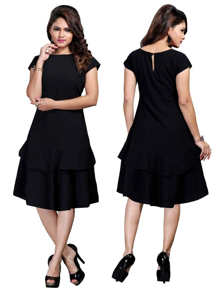 Stylish black color tunic fabricated on cotton is adding glamour to the look.  Item Code: KRUM239 http://www.bharatplaza.com/new-arrivals/kurtis.html