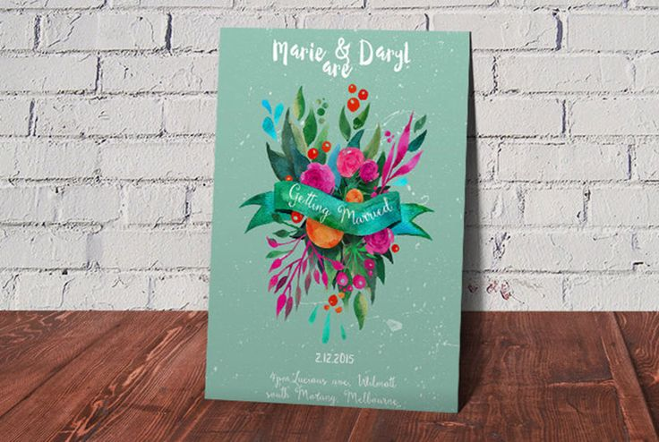 She Fox Invitations @ Etsy, Printable Watercolour Wedding Invitations (from $6.00)