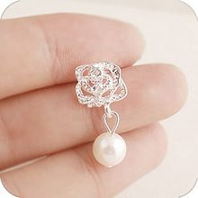 2015 Fashion Camellia Rose imitation pearl earrings female jewelry wholesale free shipping(China (Mainland))