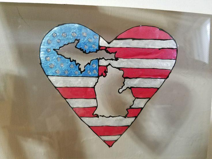 Michigan Patriot Heart Handpainted Window Decal Hand Painted Window Decals Original Designs