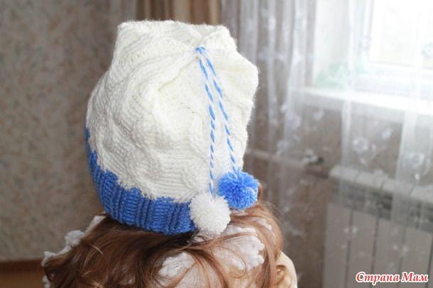 """"""" В ожидании зимы""""  ( шапка косы - крючком ( для девочки))"""