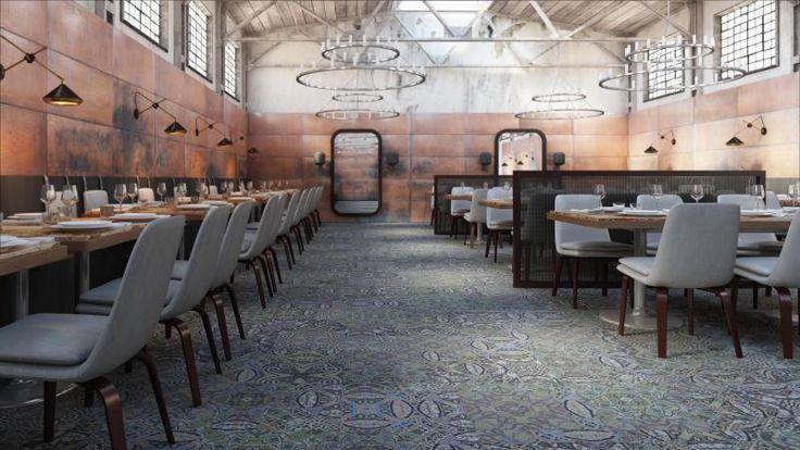 Modré kobercové čtverce z kolekce FREESTILE od Object Carpet v restauraci. / Freestile blue contract carpet tiles with innovative Venice design in restaurant, Object Carpet.  http://www.bocapraha.cz/cs/produkt/978/venice-freestile-/