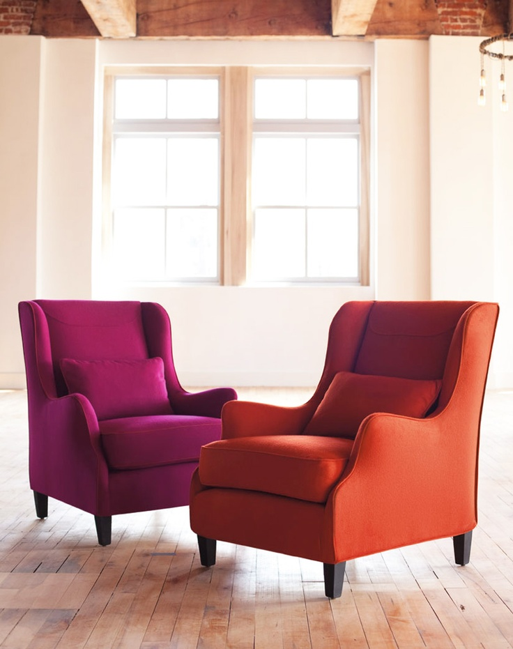 Wing Chair, Love How These Chairs Are Brightened Up With These Jewel Toned  Colors