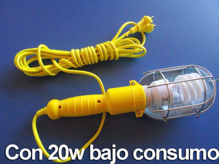 LAMPARA PORTATIL TALLER 5 METRO CABLE -INTERRUPTOR-Y BOMBILLA BAJO CONSUMO 20W | eBay