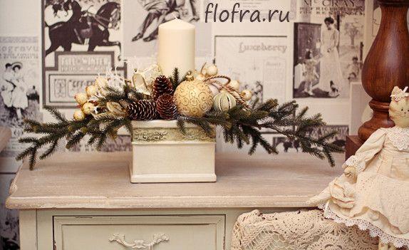 новогоднее украшение витрины стола банкета на заказ кемерово цветы