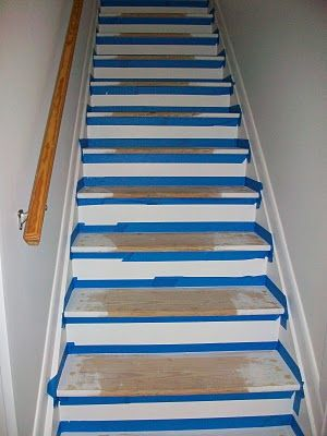 Pine Tree Home: Painted Stairs- Two Step 1 pull up carpet. Never on stairs again