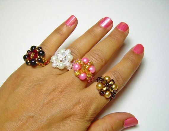 Beaded rings, Beaded Rings with different colors. via Etsy