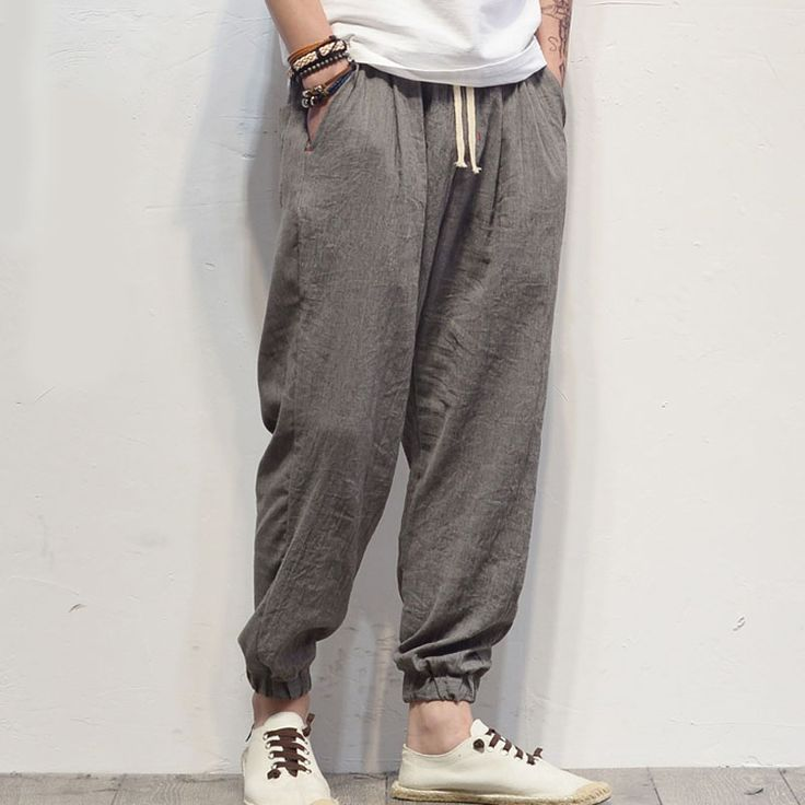 Men linen pants thin 2017 spring and autumn Chinese style bloomers pants male loose casual beam trousers black gray #Affiliate