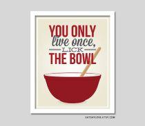 Pyrex bowl print, vintage bowl art print, funny kitchen print, pink kitchen, lick the bowl, baking print, retro inspired art, quote art