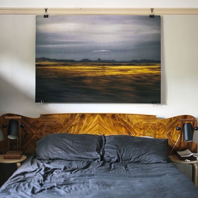 Great Plain, 2013. Photographer: Nicolette Johnson. Photo: South West Supply Co. // timber bedhead; picture rail; bulldog clip