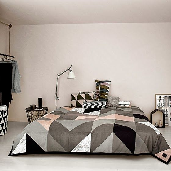 neutral half-square triangles in a large format, with a pop of peach