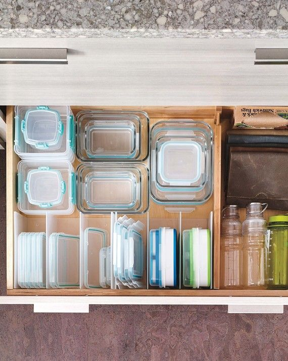 Like pots and their lids, food storage containers and their tops can rarely be found in the same place. Instead of storing the bases in a cabinet and the lids in a drawer, dedicate adequate space near the refrigerator. Nest similarly shaped bases together and align tops vertically to save space and keep organized.