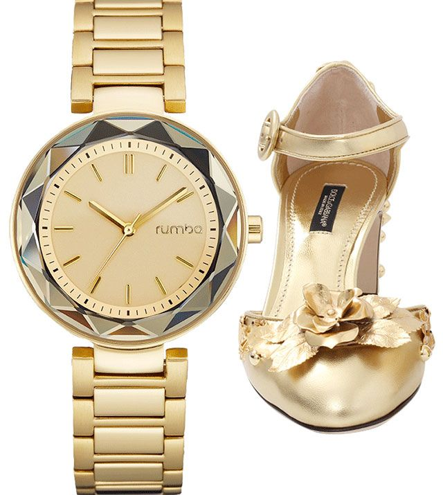 "RUMBATIME ""Madison"" watch and Dolce & Gabbana gold Mary Jane heels available for purchase online from Marissa Collections in Naples, Florida."