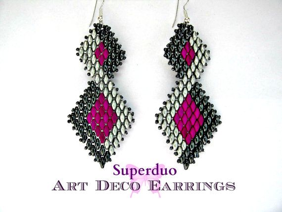 Tutorial Superduo pendientes Peyote Art Deco por ButterflyBeadKits                                                                                                                                                     Más