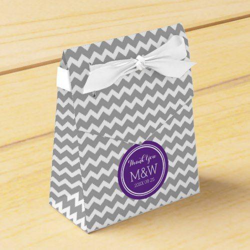 Grey Purple Chevron Wedding Monogram Favor Box
