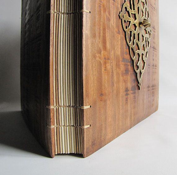 Photo Album Big Book Wedding Wood Covers Reclaimed Old By Lacunawork