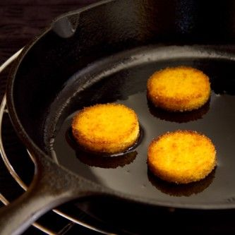 Polenta Cakes I love the polenta cakes. Polenta pairs perfectly with Parmesan, but you could use Romano or Asiago. You can also add complexity and depth to the flavor of this simple dish by mixing in chopped herbs. Basil makes an excellent addition to polenta.  From In the Kitchen with Le Cordon Bleu, published by Cengage Learning. Copyright 2013 Le Cordon Bleu International. All rights reserved.