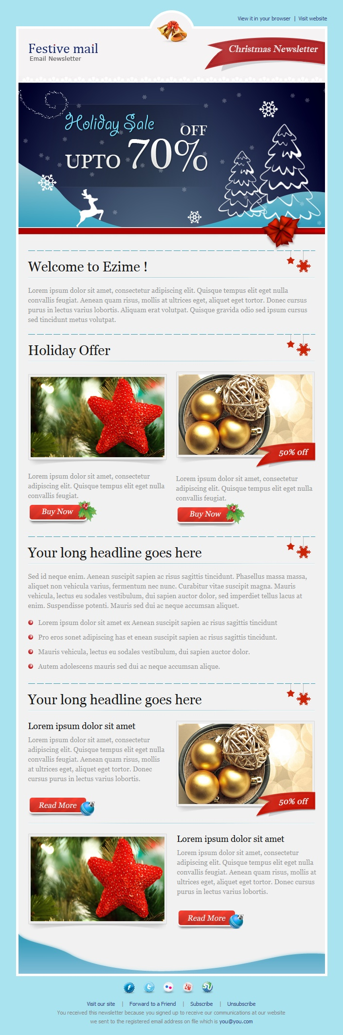 Festive Mail  ChristmasHoliday Newsletter Template For Sale At