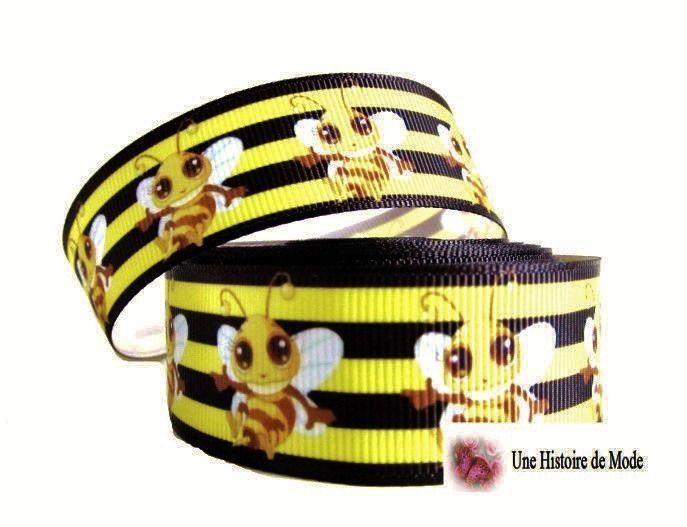 Ruban abeille , guêpe - jaune et noir - 25 mm - gros grain vendu au mètre : Rubans par une-histoire-de-mode