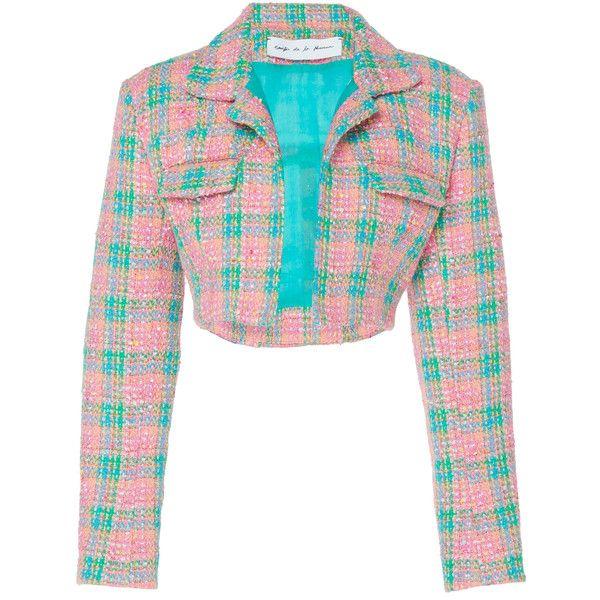 Emilio de la Morena Dynasty Cropped Plaid Jacket ($1,185) via Polyvore featuring outerwear, jackets, co-ords, plaid, white jacket, plaid jacket, white cropped jackets, structure jacket and cropped jackets