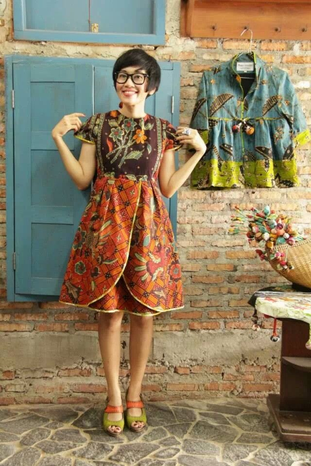 Batik Amarillis Creative Director Selly Hasbullah at Batik Amarillis Studio wearing Batik Amarillis's blooming dress