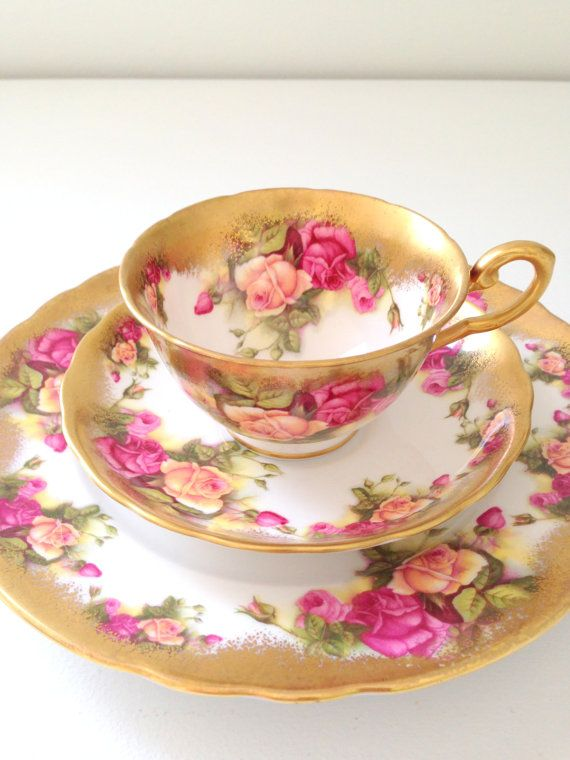 Reserved for A/ Antique English Royal Chelsea Fine Bone China Tea Cup, Saucer Trio
