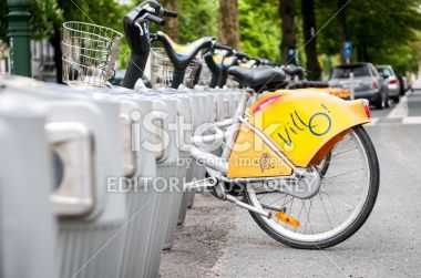 Villo, public bike rental in Brussles Royalty Free Stock Photo