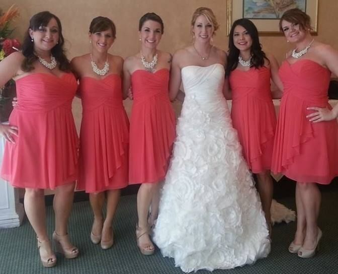 David's Bridal Guava Short Crinkle Chiffon Dress With
