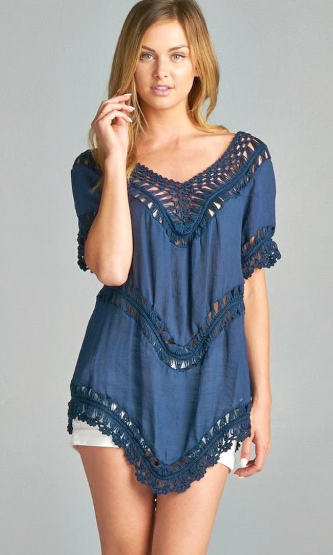 Crochet Tunic in Navy