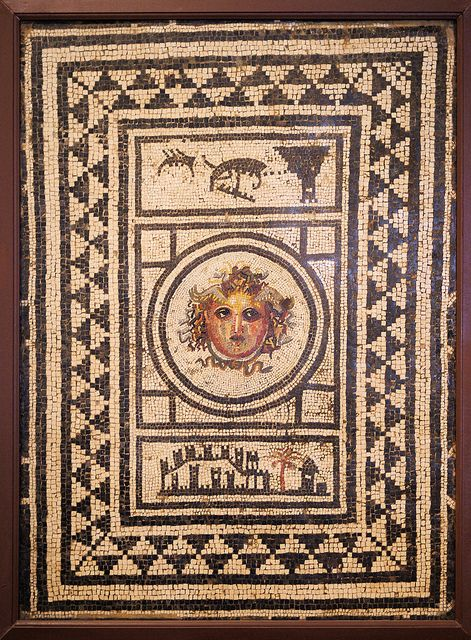 Pompeii/ House of the Centen-ary: a threshold mosaic w/a Medusa (Gorgon) head in the center to protect the house & its inhabitants
