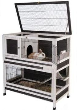 Small Pet Cage Indoor Lounge 2 Storey Wooden Rabbits or Guinea Pigs hutch Accessible via multiple cage doors by Sams e Store