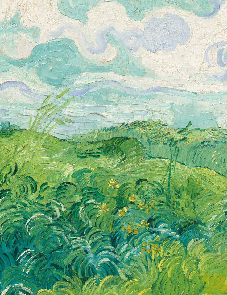 "dappledwithshadow: "" Vincent van Gogh Detail from Green Wheat Field, Auvers, 1890. """