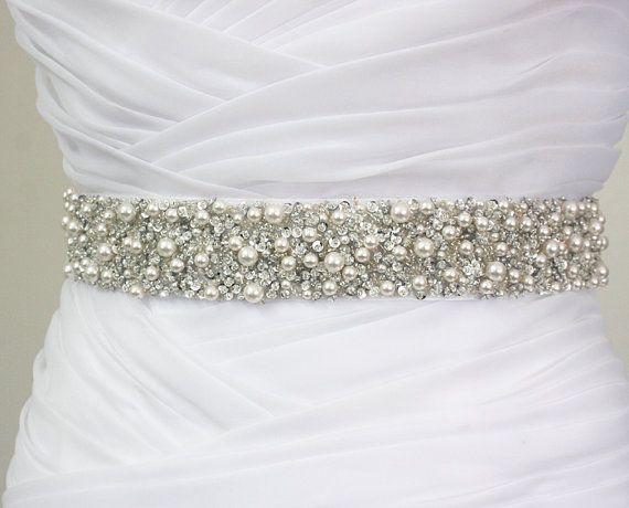 "Ready To Ship - Best Seller - MONACO - 1 1/2"" Swarovski Pearls Encrusted Bridal Sash, Wedding Beaded Belt, Rhinestone Belt"