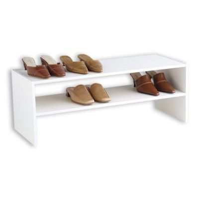 2-Shelf Storage Stacker White (31 x 11-1/2 x 11-1/2 h) $18 - perfect in the closet for little kid shoes