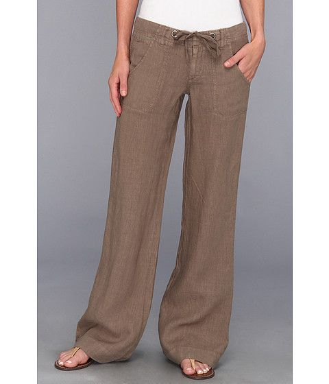 Love lose fitting khaki/brown linen pants with foldover waist or drawstring waist