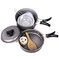 Camping Pots, Portable Hard Anodized Aluminum Non-stick Cooking Ware Cookware Picnic Bowl Pot Pan Kits ( Set of 10 )