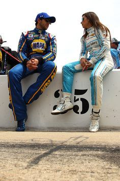 Chase Elliott, son of racing legend Bill Elliott, sits with Danica Patrick prior to qualifying for the Duck Commander 500 at Texas Motor Speedway, 4/8/16.